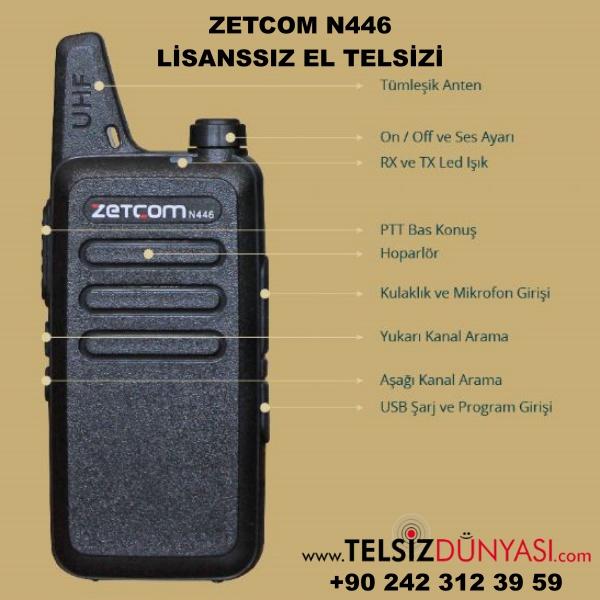 ZETCOM N446  LİSANSSIZ EL TELSİZİ